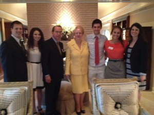 Photo of Hillel Student Leaders with Dr. Robert Witt and Dr. Judy Bonner